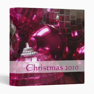 Pink Baubles 'Christmas 2010' binder front text