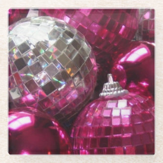 Pink Baubles glass coaster