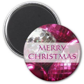 Pink Baubles 'Merry Christmas' fridge magnet