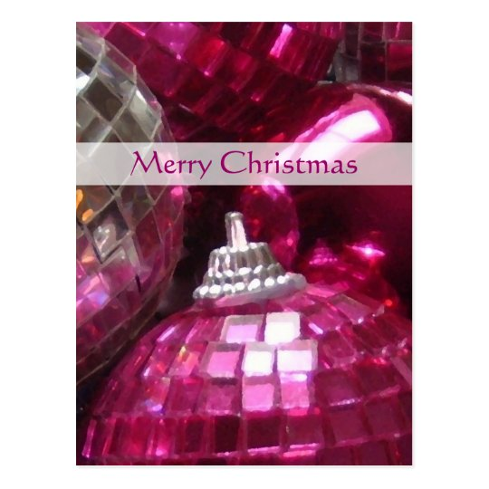 Pink Baubles 'Merry Christmas' postcard portrait