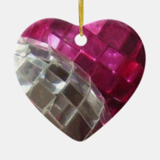 Pink Baubles mirror ball ornament heart