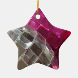 Pink Baubles mirror ball star ornament