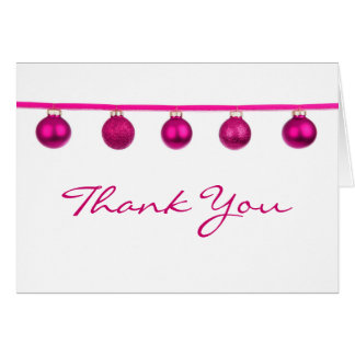 Pink Baubles on Ribbon Christmas Thank You Note Cards