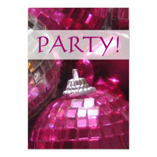 Pink Baubles 'Party!' invitation