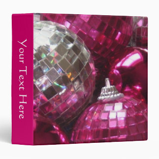 Pink Baubles Your Text binder pink