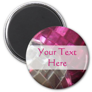 Pink Baubles 'Your Text' mirror ball fridge magnet