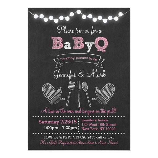Pink BBQ Chalkboard Baby Shower Card