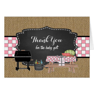 Pink BBQ thank you note, baby q thank you poem Card