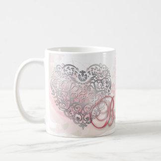 "Pink ""Be Mine""-Silver Filigree Heart Valentine Mug"