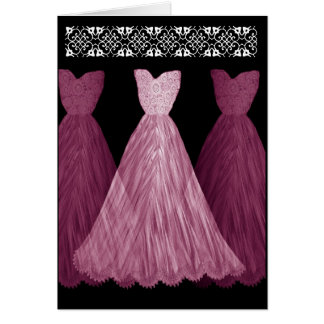 PINK Be My Bridesmaid Invitation with Lace Trim Greeting Card