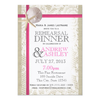 Pink Beach and Burlap Rehearsal Dinner 5x7 Paper Invitation Card