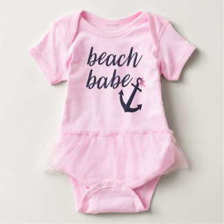 Pink Beach Babe - Baby Girl's Tutu Outfit. Baby Bodysuit