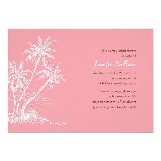 Pink Beach Bridal Shower Invitations