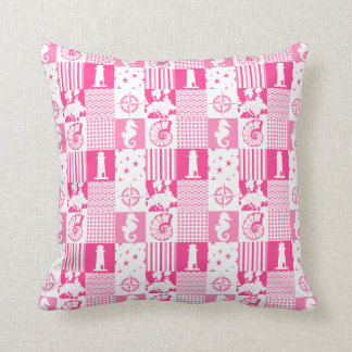 Pink Beach Cottage Patchwork Throw Pillow