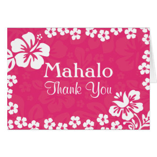 Pink Beach Flowers Wedding Thank You Cards