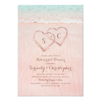 Pink beach hearts in the sand rehearsal dinner invitation