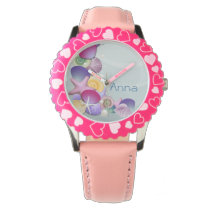 pink beach ocean seashells personalized design wrist watch
