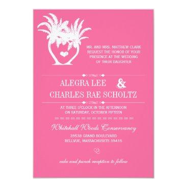 Beach Themed Pink Beach Palm Tree Destination Chalkboard Card