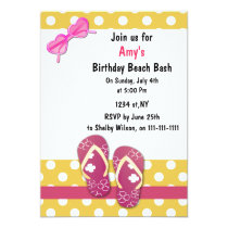 Pink Beach Party Invitations