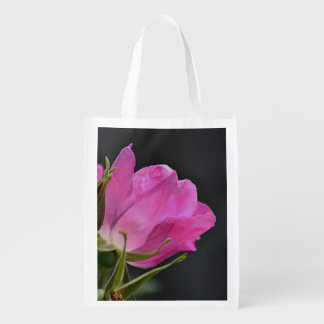 Pink beach plum rose grocery bag
