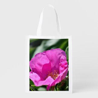Pink beach plum rose reusable grocery bag