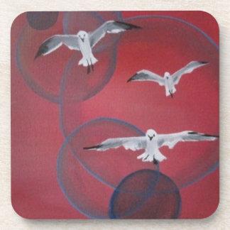 Pink Beach Seagull Coasters