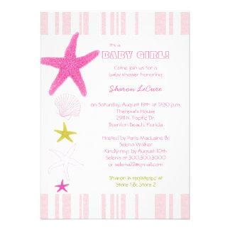 Pink Beach Starfish Stripes Baby Girl Baby Shower Invite
