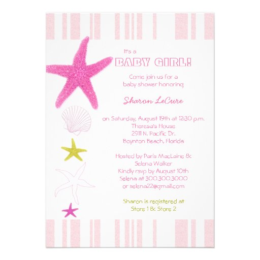 Pink Beach Starfish, Stripes Baby Girl Baby Shower Invite