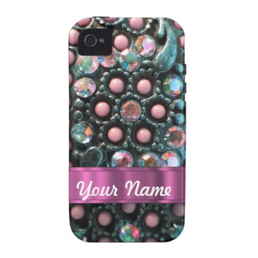 Pink beaded perrsonalized iPhone 4 cover
