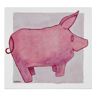 Pink Beaded Pig Poster