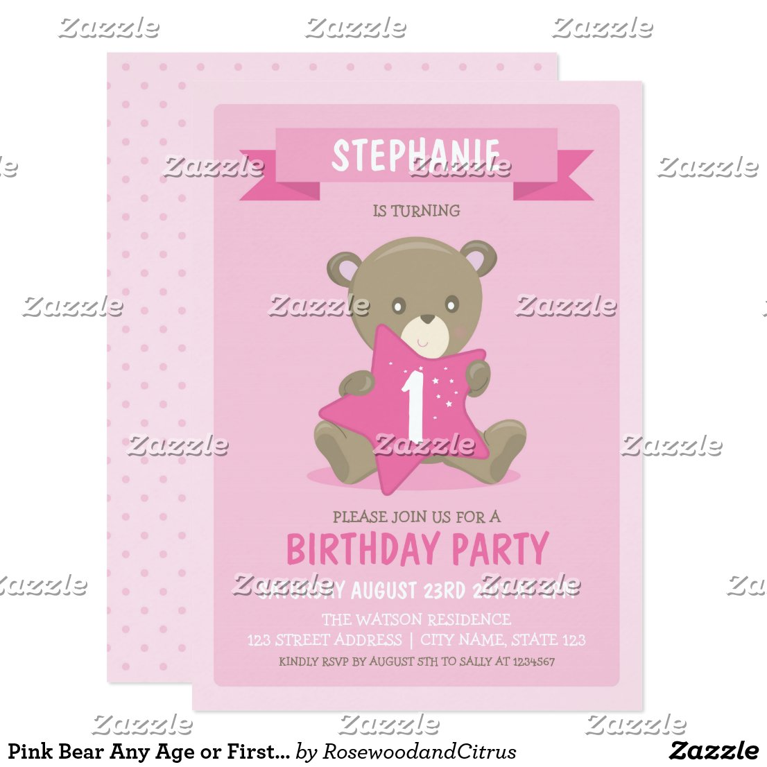 Pink Bear Any Age or First Birthday Invitation