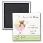 Pink Bear Baby Shower Save the Date Fridge Magnet