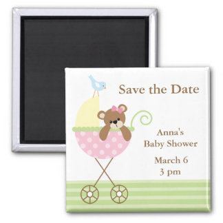 Pink Bear Baby Shower Save the Date Magnet