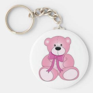 pink bear basic round button keychain