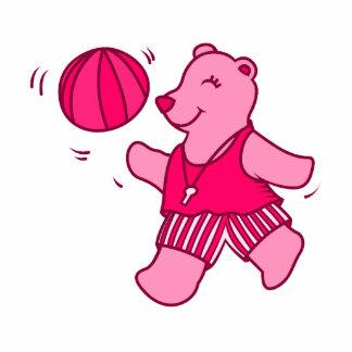 Pink bear basketball photo sculpture