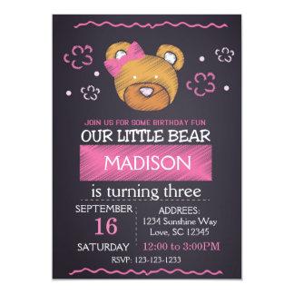 Pink  Bear Birthday Invitation