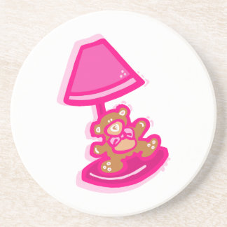 pink bear lamp drink coaster