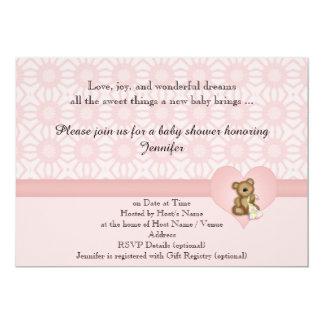 Pink Bear Retro Flowers Baby Shower Invitation