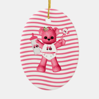 Pink Bear Tractor 1st Christmas Ornament