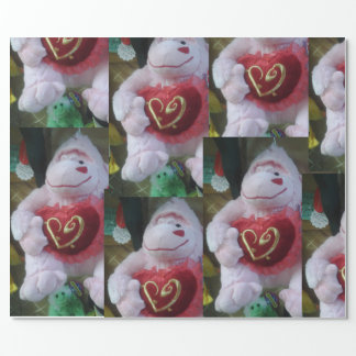 Pink Bear With Big Red Heart Wrapping Paper
