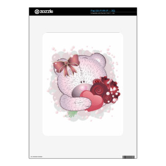 Pink bear with roses iPad decal