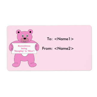 Pink Bear with Sign Naughty is Nice Label