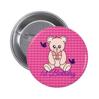 Pink Bears 1st Birthday Button