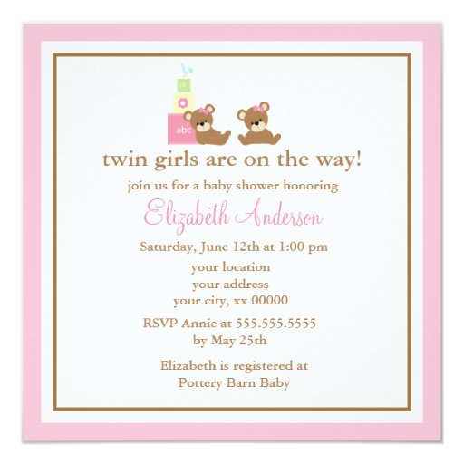 Pink Bears Twins Baby Shower 5.25x5.25 Square Paper Invitation Card