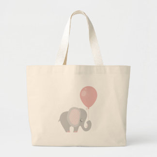 Pink Beautiful Baby Elephant Large Tote Bag