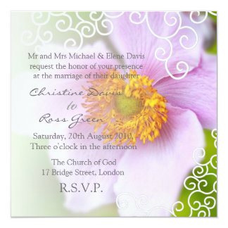 "Pink beauty personalized wedding invitation 5.25"" square invitation card"