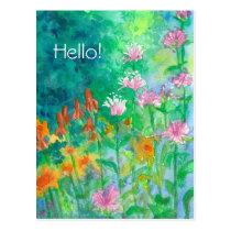 Pink Bee Balm Flower Garden Hello Postcard