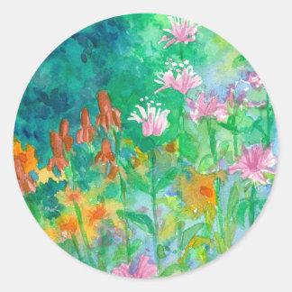 Pink Bee Balm Orange Flower Watercolor Garden Classic Round Sticker