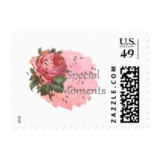 Pink Bees and Rose Flower Special Moments Stamp