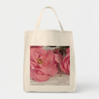 Pink Begonia Flowers Organic Grocery Tote